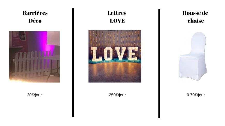 matériel décoration mariage